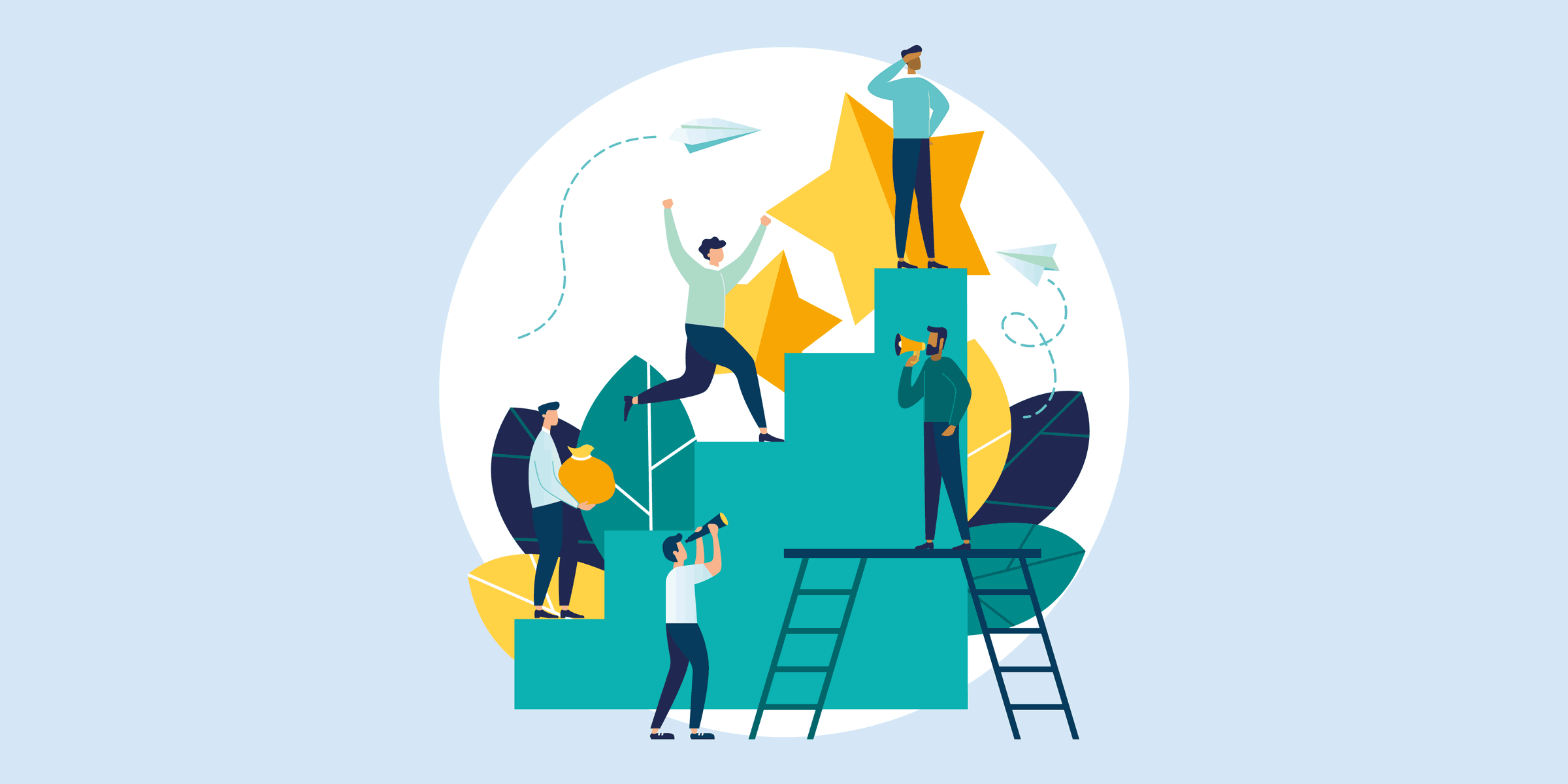 illustration showing people climbing up steps, talking through a bullhorn, and looking around, representing measuring the roi on social media