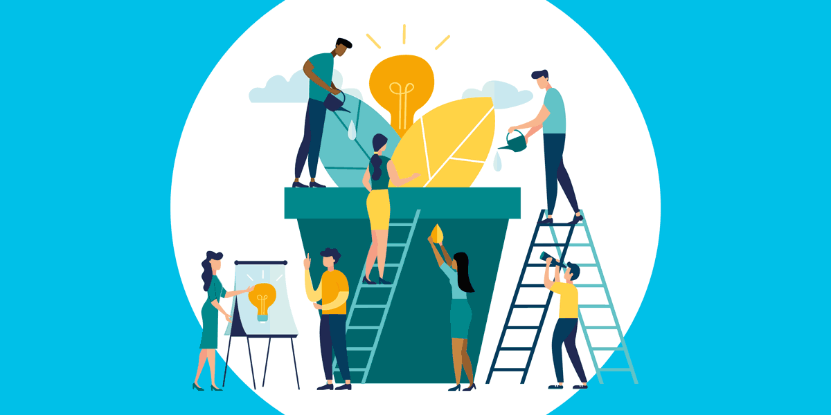 illustration of people working on and around a large flowerpot, representing how monthly giving can help nonprofits grow their fundraising