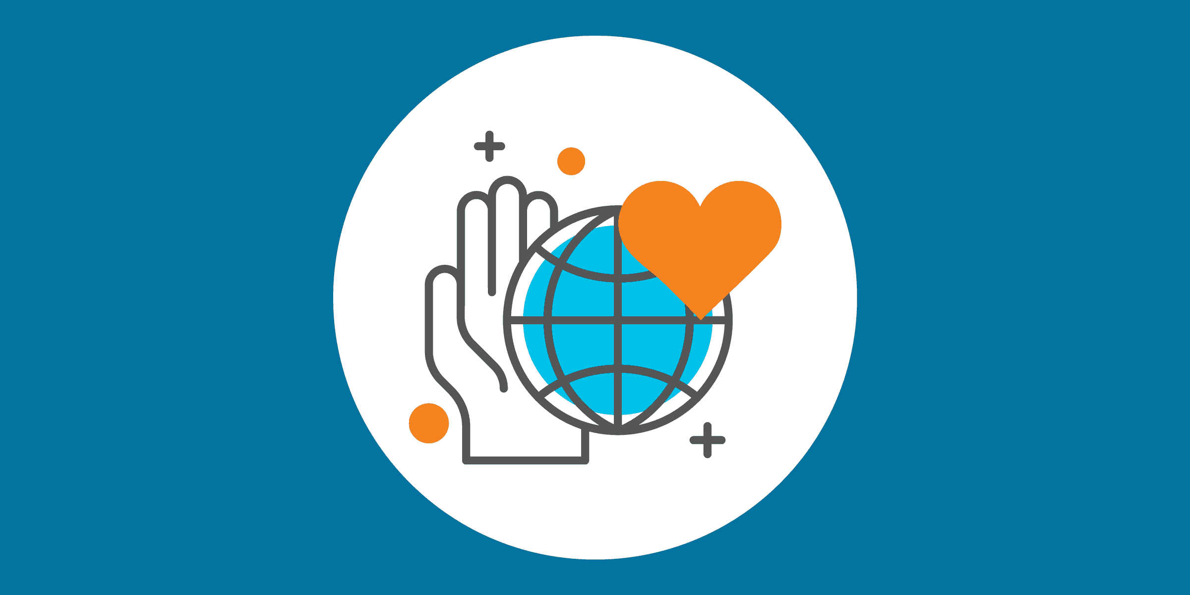illustration of a hand, a planet, and a heart, representing the importance of nonprofit stability and sustainability
