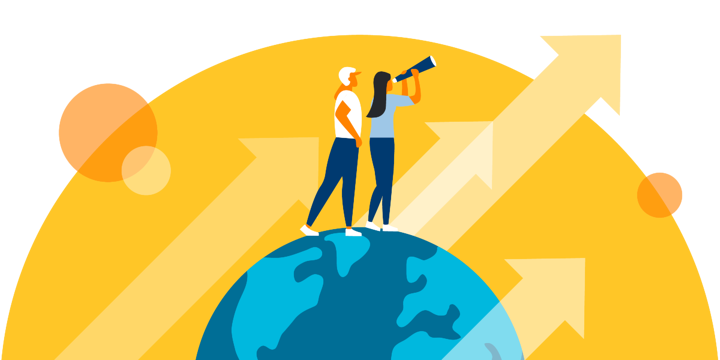 illustration of two people looking up from the earth toward something in the sky, representing taking a closer look at impact investing for nonprofits