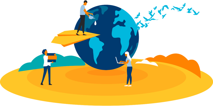 illustration of a person on a paper airplane watering earth, a person carrying building blocks, and a person with a laptop, representing how impact investing could help techsoup build its capacity and serve nonprofits better globally