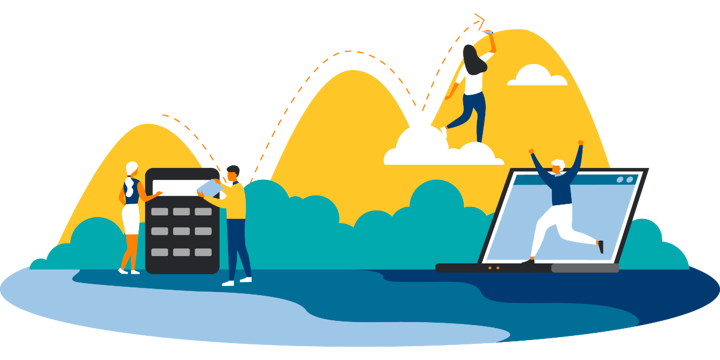 illustration of people working with a giant calculator, dancing on a laptop, and climbing a hill on a cloud, representing what impact investing could mean for nonprofits