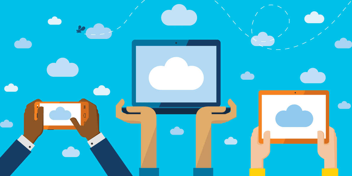 illustration of people holding up mobile devices to interact with the cloud, representing microsoft cloud services for nonprofits