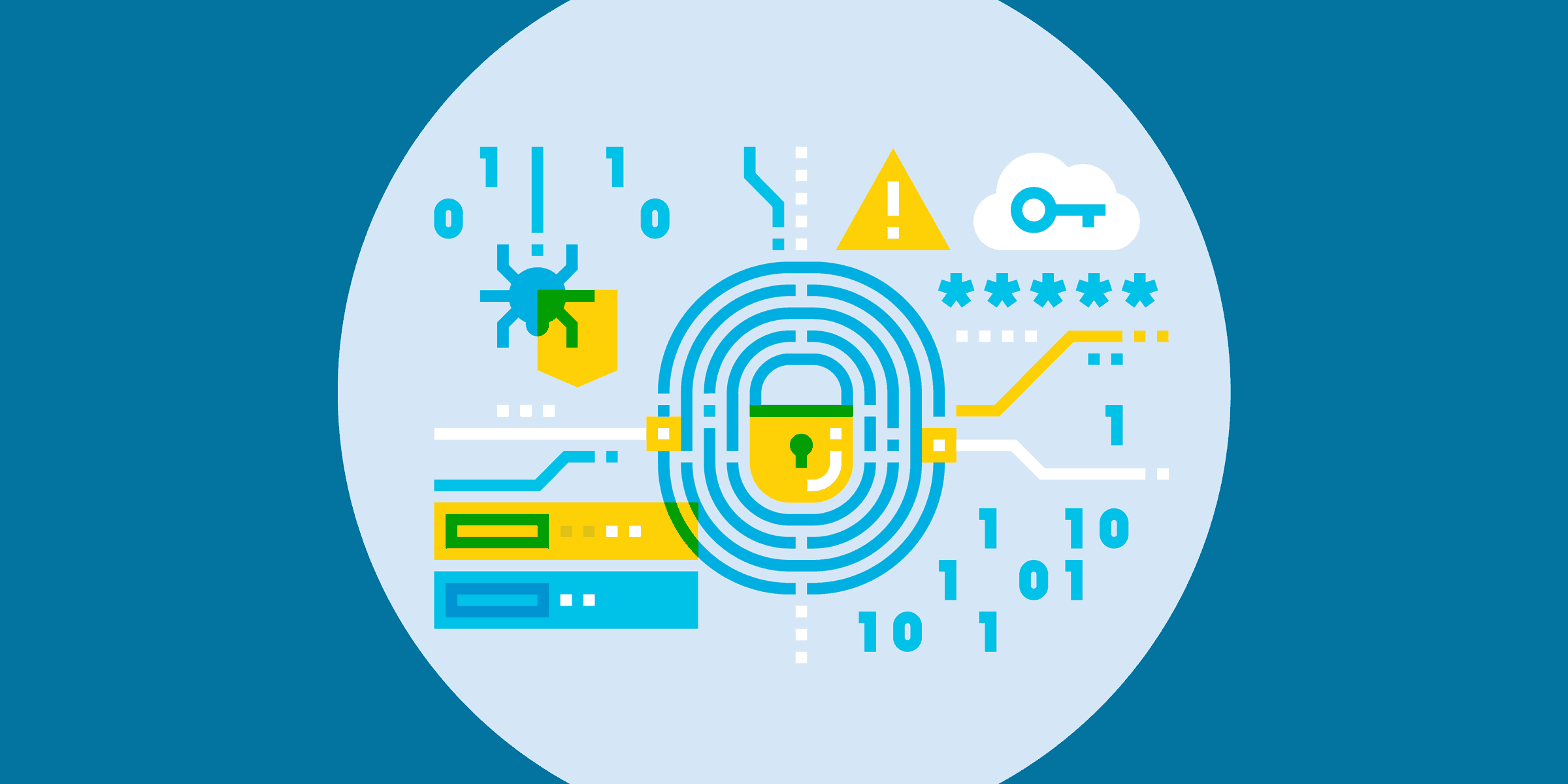 illustration of nonprofit it security icons, such as a lock, key, exclamation mark, hard drives, virus, and zeros and ones