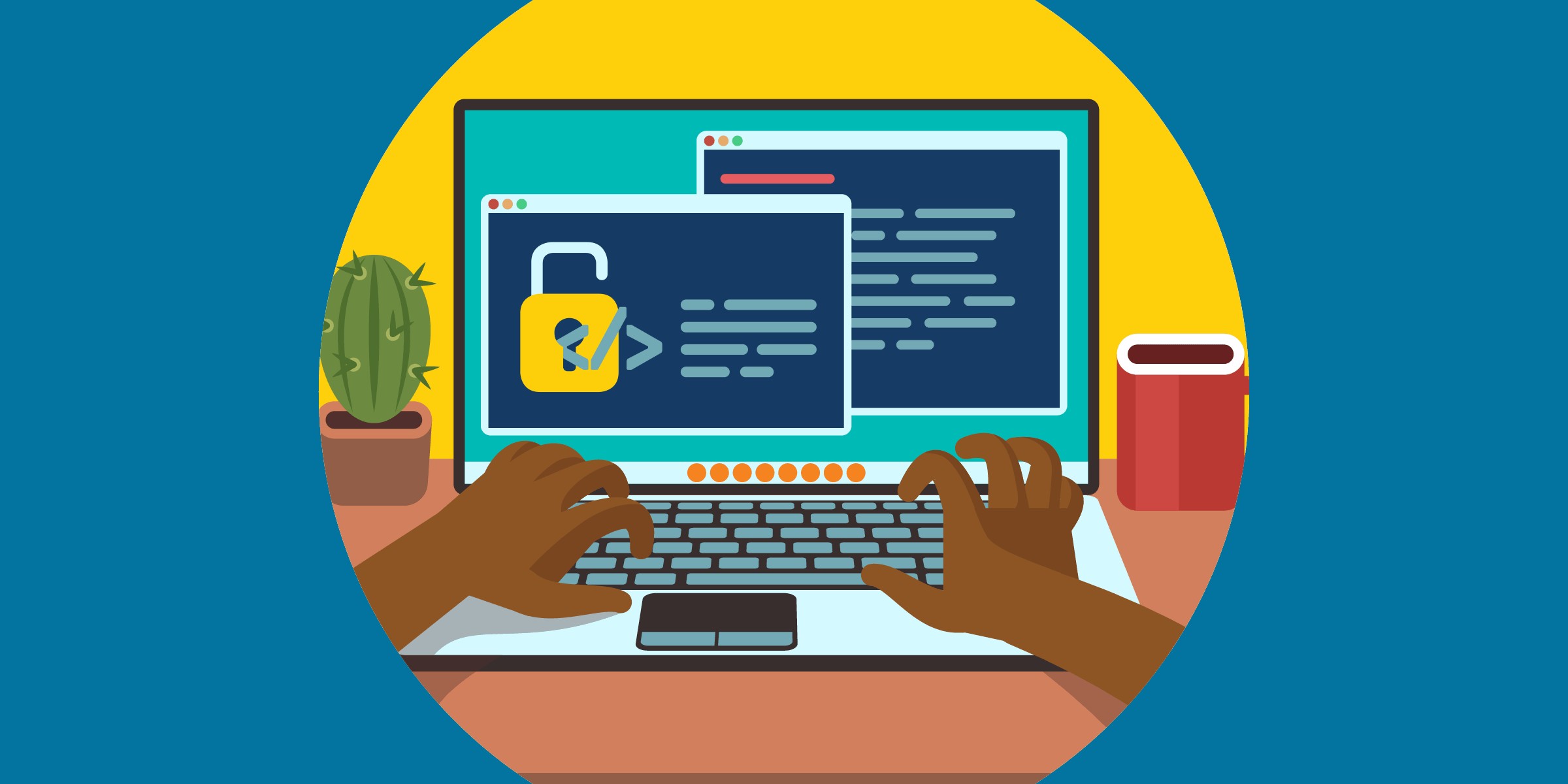 illustration of a nonprofit staffer working on open-source software, depicted as an open lock with html code over it