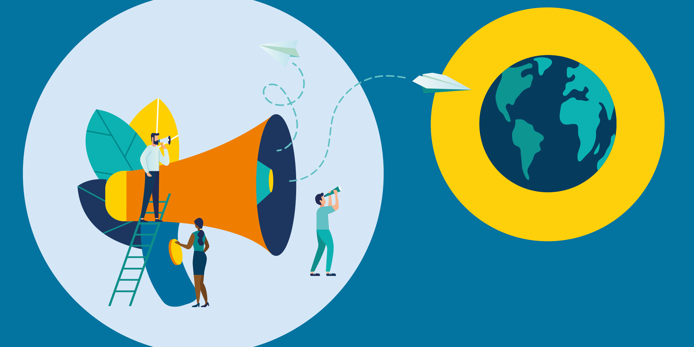 illustration of people assisting paper airplanes come out of a megaphone to fly around the world, representing how nonprofits can harness a google ad grant to increase their marketing efficacy