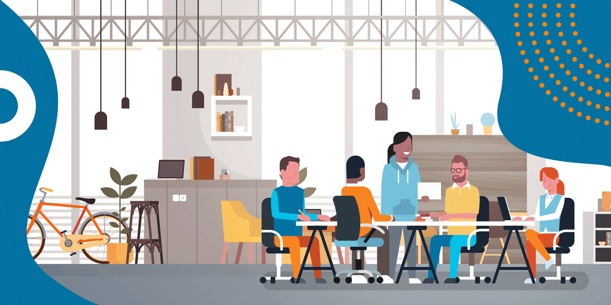drawing of five people sitting at a long table in a large, open office space