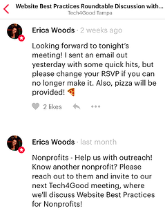 screen capture of meeting reminders posted in Meetup