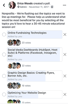 screen capture of Meetup poll on possible discussion topics