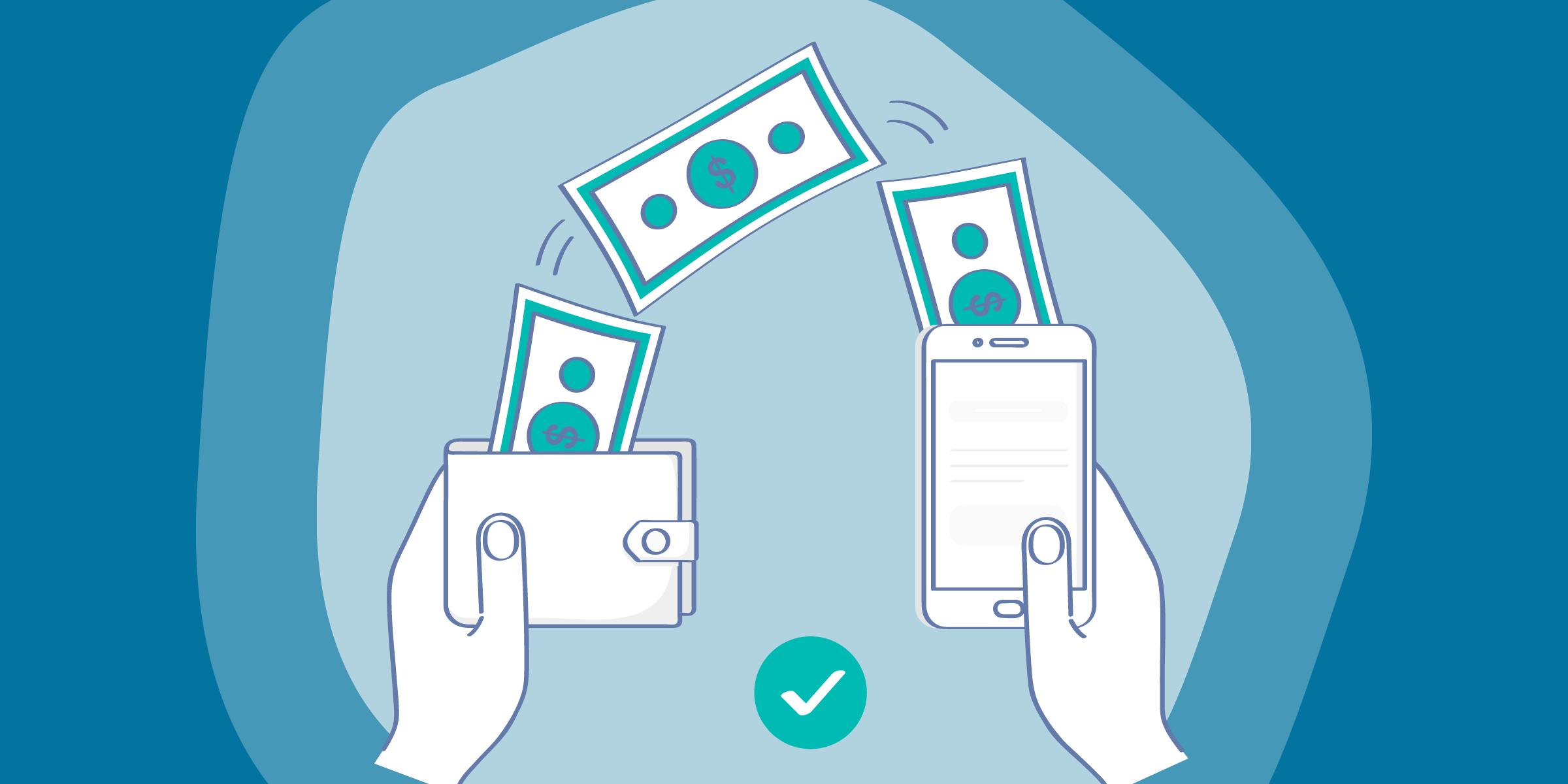 drawing of money moving between a phone in one hand to a wallet in another hand