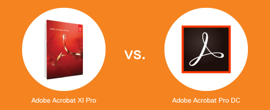 Acrobat XI box on the left versus Acrobat Pro DC logo on the right