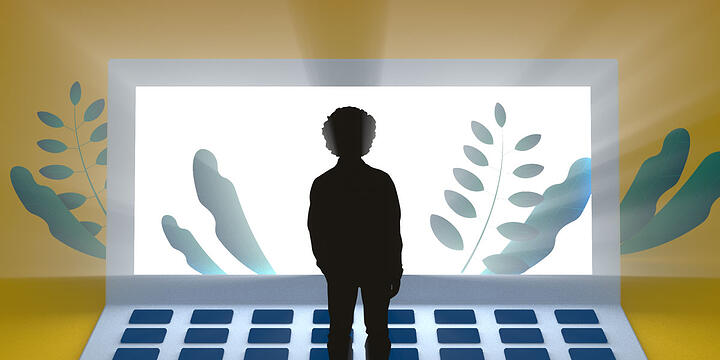 drawing of a young person silhouetted in front of a giant laptop with images of leaves
