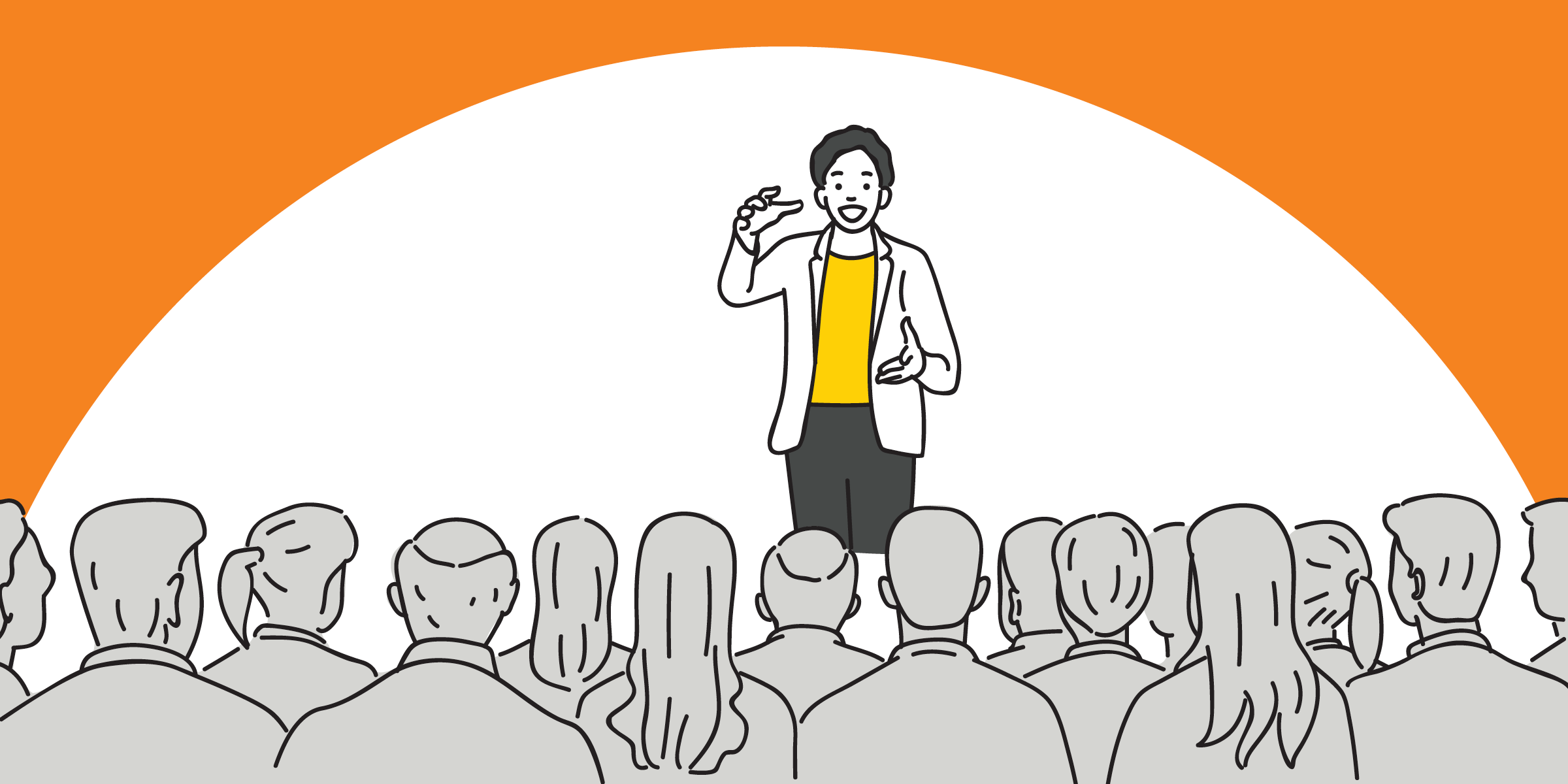 drawing of a speaker standing in front of an audience and gesturing with both hands