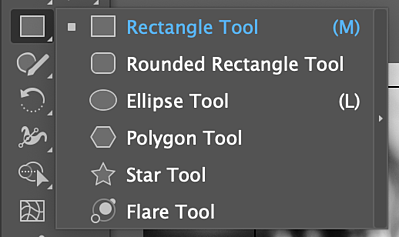 menu of available Illustrator shapes displayed by the icon in the Tools panel