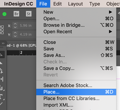 File menu in InDesign with Place chosen