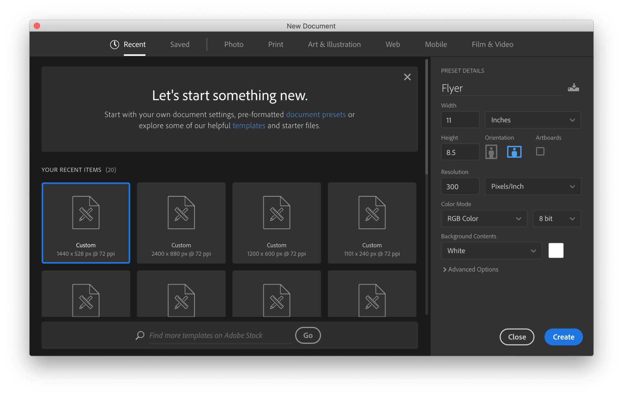 Photoshop window where you set dimensions and so on