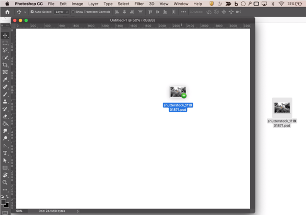 dragging an image into a Photoshop document