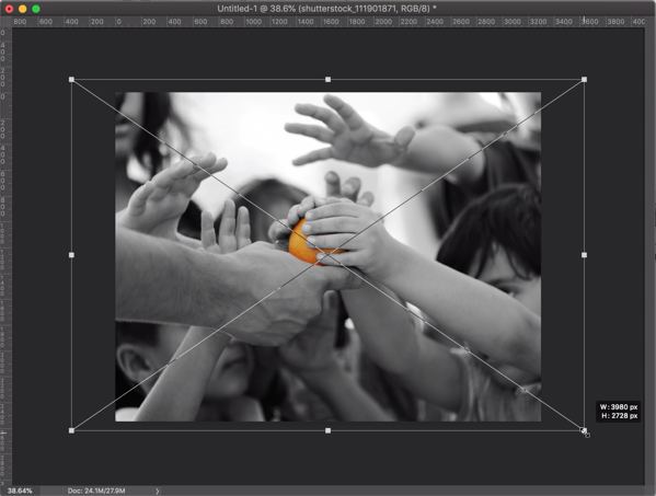 flyer photo in Photoshop showing resizing handles