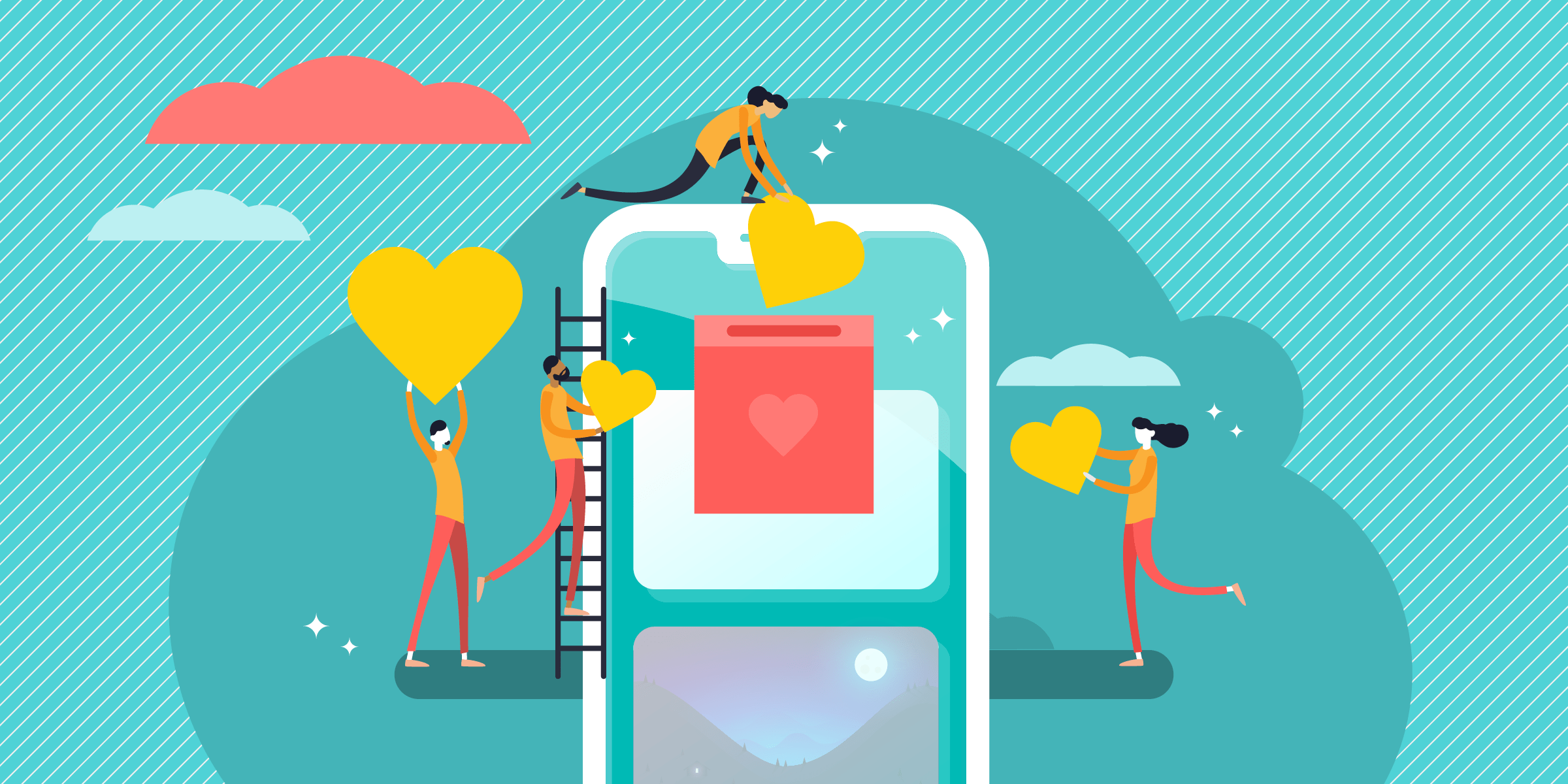 drawing of four small figures carrying hearts to be deposited in a box on a cellphone screen