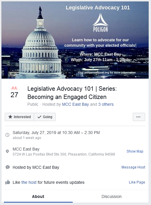 Facebook event about learning how to advocate for a community with elected officials