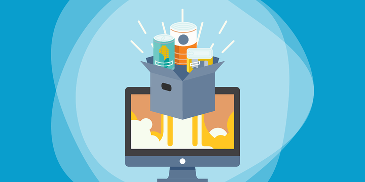 drawing of an open box with three cans of food in front of a computer screen