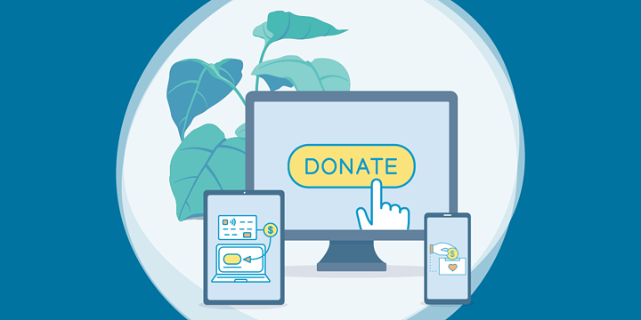 drawing of computer, tablet, and smartphone screens, all showing donations in progress
