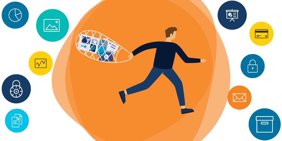 drawing of a running man carrying a bag full of important matter; surrounding symbols suggest things that should be in the bag