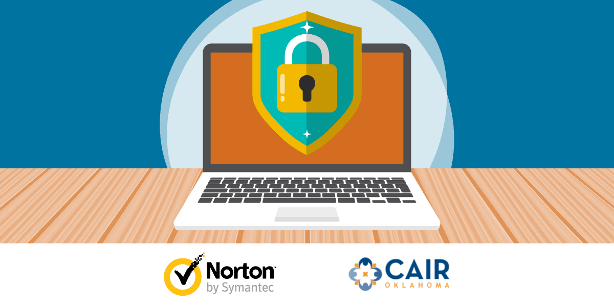 drawing of a laptop with a shield and padlock symbol and Norton and CAIR logos