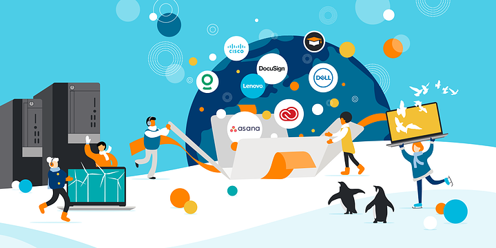 drawing of five people and two penguins in a winter setting surrounded by computers, monitors, and logos of Cyber Week offers