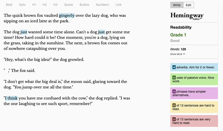 an example of the Hemingway Editor in use: readability is Grade 1; the piece uses too many adverbs