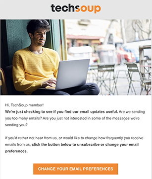 an example of a TechSoup reengagement email
