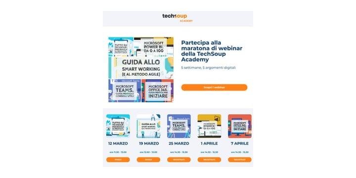 Italian web page showing upcoming webinars