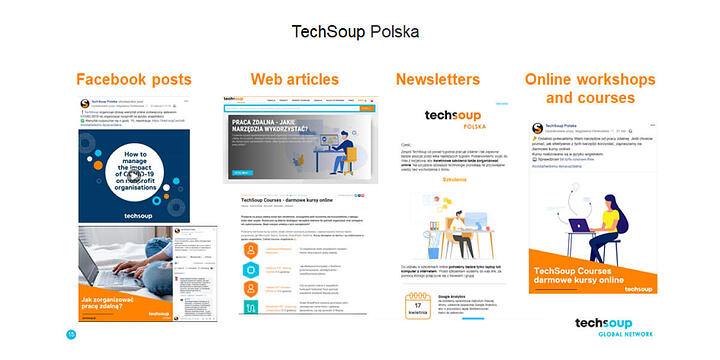 captures of some posts, articles, newsletters and courses from TechSoup Polska