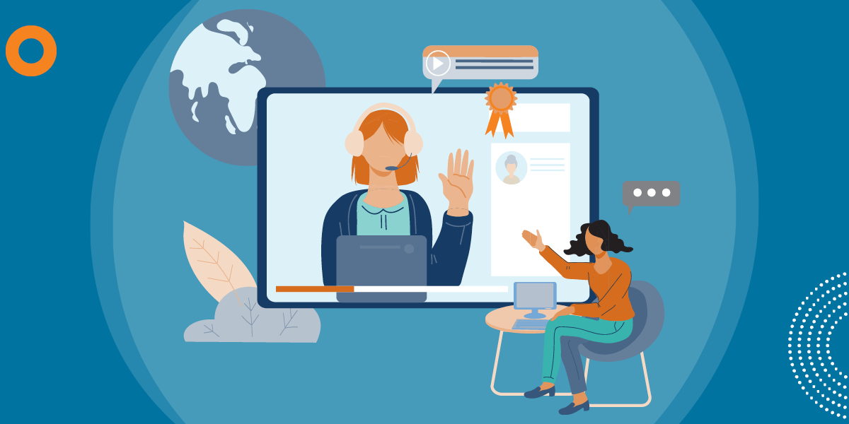 drawing of a woman sitting at a small computer table and gesturing at a large screen that shows a woman with a headset waving