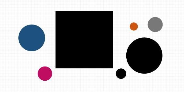 seven shapes: large black square; large and small black circles; medium blue circle; three other small circles