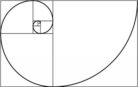 the golden ratio: a curved line on a bunch of boxes