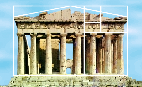 the Parthenon with the golden ratio boxes superimposed