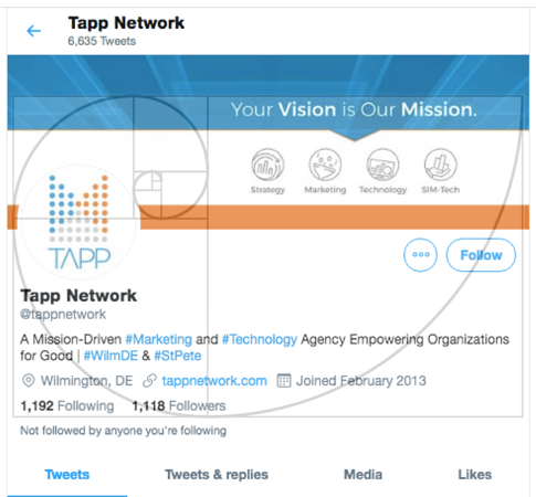 Twitter page with the golden ratio line and boxes superimposed