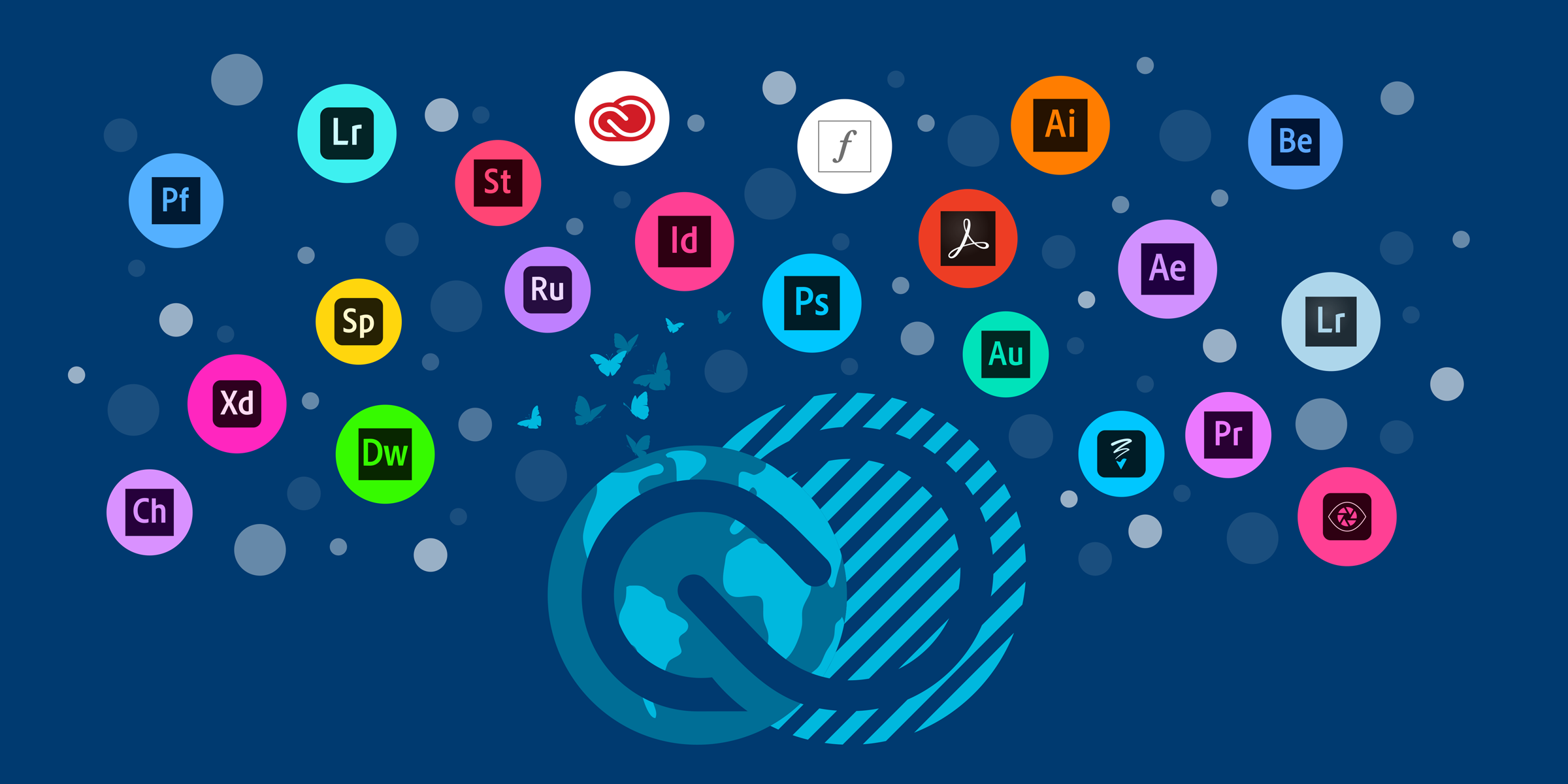 creative cloud symbol on top of the globe and surrounded by symbols of individual Adobe applications