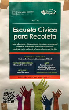 poster in Spanish that promotes a school that teaches people all the ways they can engage in their community