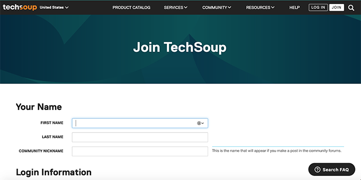 The Join TechSoup screen