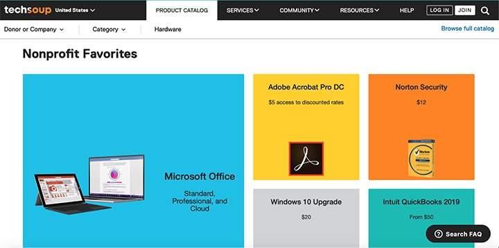 the Product Catalog page