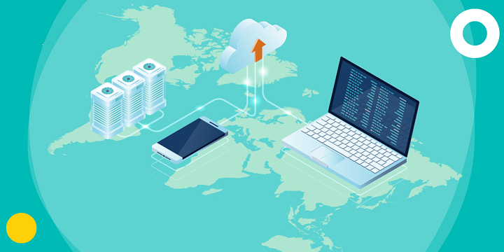 drawing of a world map holding a laptop, smartphone and datacenter connected to a cloud
