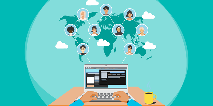 drawing of a laptop user below a network of nine other people in clouds over a world map