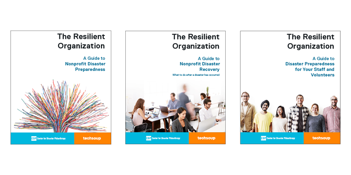 Covers of the three disaster guides: preparedness, recovery, and staff and volunteers