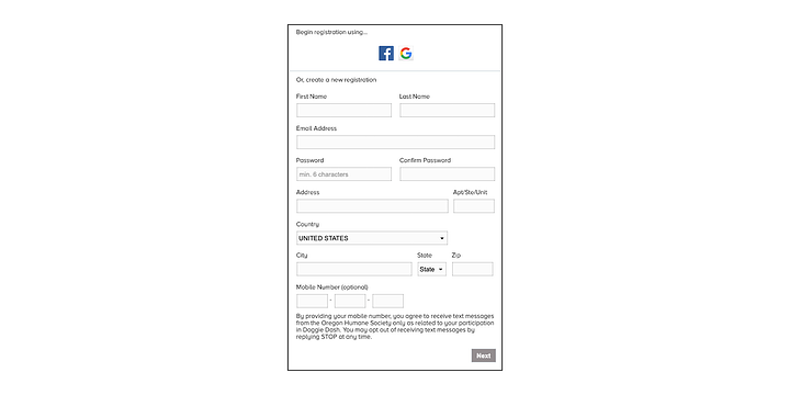 event registration form with an opt-in field for text messages