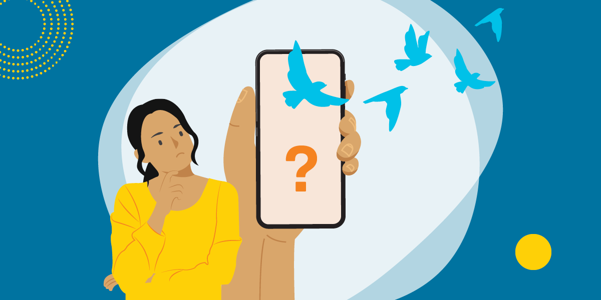 drawing of a concerned woman holding a smartphone with a question mark and blue birds flying away