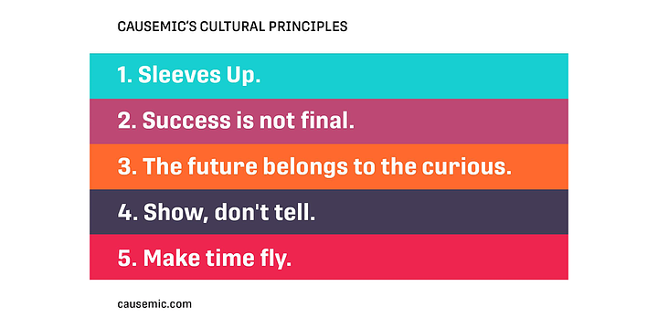 Colorful list of CauseMic's cultural principles: Sleeves up; success is not final; the future belongs to the curious; show, don't tell; make time fly