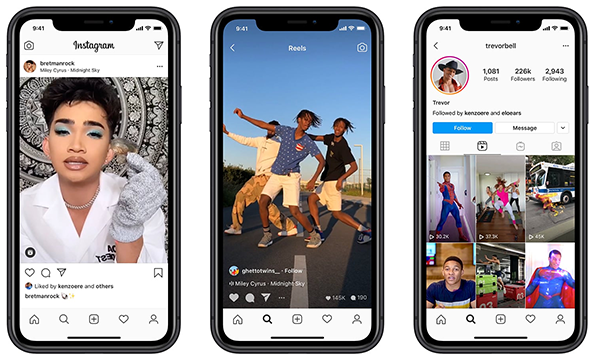 three smartphone screens showing Instagram posts