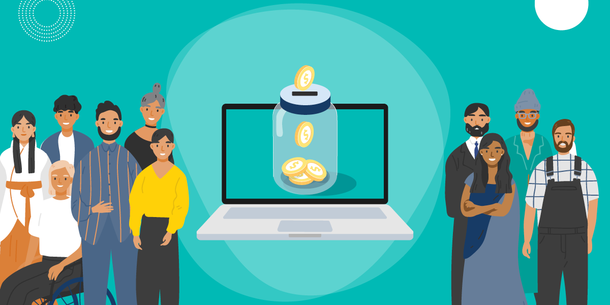 drawing of a diverse group of people flanking a computer screen showing coins being put into a jar